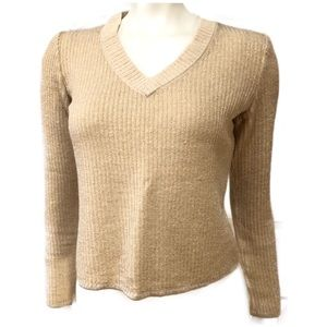 St. John Gold Cropped Sweater gold shimmery knit .